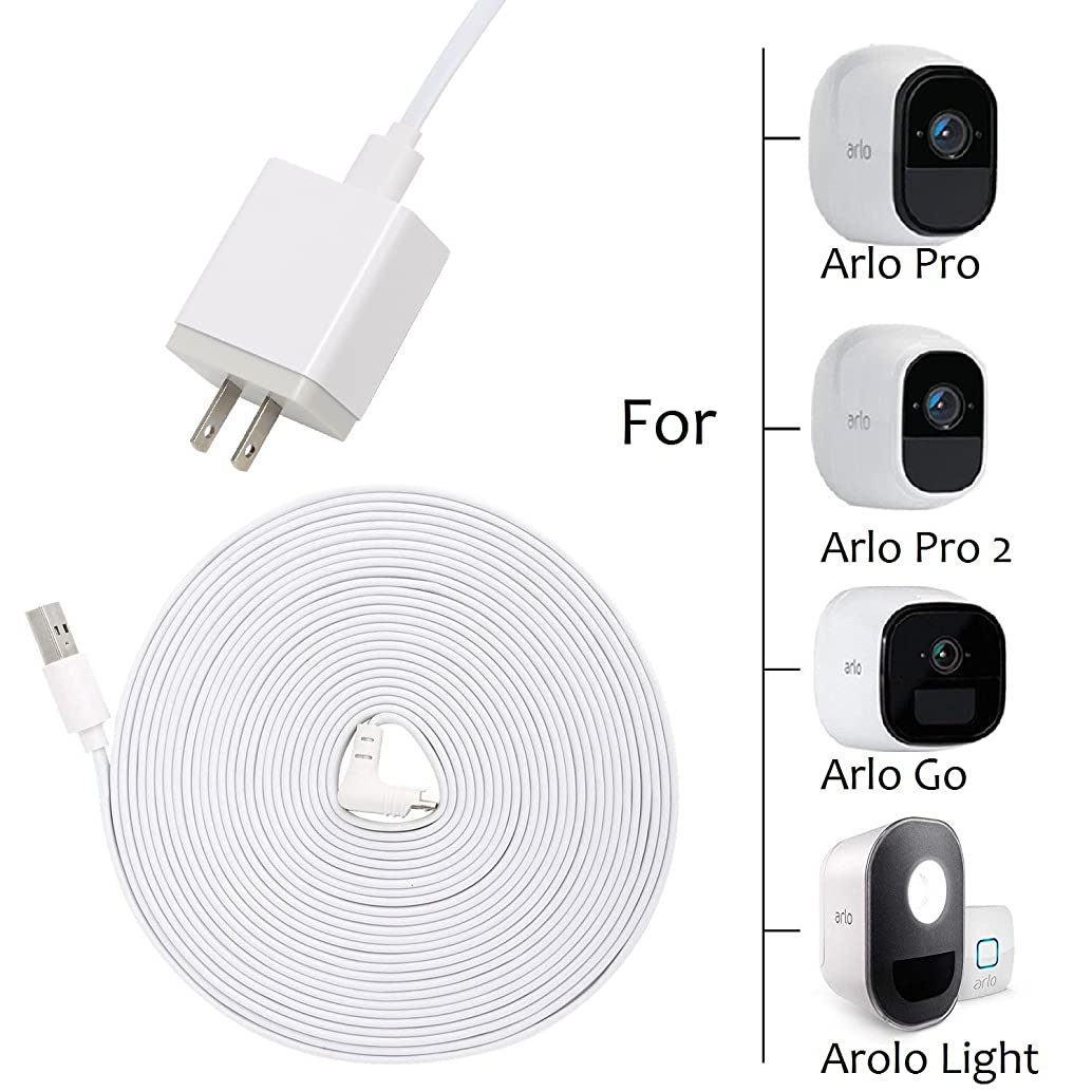 [#1 Deal] OkeMeeo Weatherproof Outdoor 19ft Long Indoor Power Cable and Power Adapter for Arlo Pro, Arlo Pro 2, Arlo GO and Arlo Security Lights