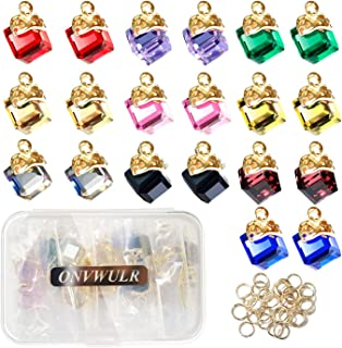 ONVWULR 20Pcs 1 Box Cubic Crystal Charms 10 Colors Pendants for Jewelry Making Necklace Earring Accessory