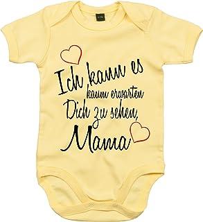Mister Merchandise Mister Merchandise Baby Body Ich kann es kaum erwarten Dich zu sehen Mama Strampler liebevoll bedruckt Wiedersehen Weg Reise Gelb, 0-3