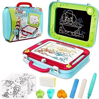 Vanplay Pizarra Mágica para Niños, 2 en 1 Caballete Doble Cara Bibujo Tablero del Doodle Magneticos de los Niños para 3 4 5 Años