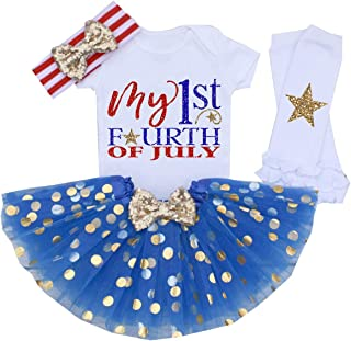 My 1st 4th of July Baby Girl Outfits American Flag Romper Shirt Dots Tutu Dress with Bow Headband Independence Day Set