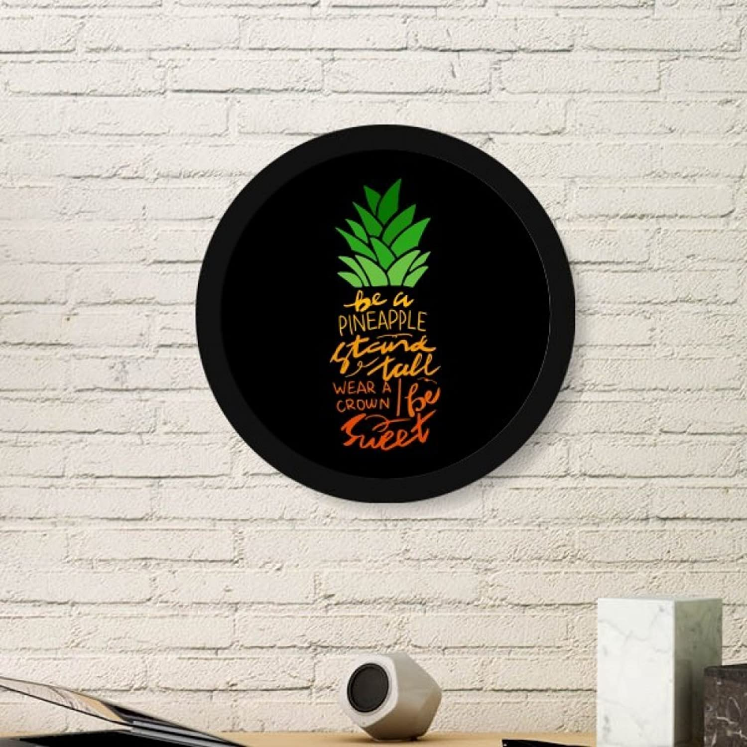 Be a Pineapple Stand Tall Quote Art Painting Picture Photo Wooden Round Frame Home Wall Decor Gift