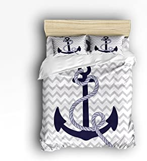 Vandarllin Full Size Bedding Set- Navy Nautical Anchor with Grey White Zig Zag Chevron Pattern Duvet Cover Set Bedspread for Childrens/Kids/Teens/Adults, 4 Piece 100% Cotton