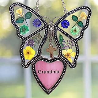 BANBERRY DESIGNS Grandma Butterfly Suncatcher - Dried and Pressed Flower Butterfly with Pink Stained Glass Grandma Heart - Birthday for Grandma