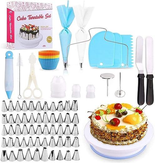 معدات تزيين الكيك، مجموعة من 106 قطعة من أدوات تزيين الكعك مع حامل دوار غير قابل للانزلاق، 54 طرف ثلجي مرقمة وأدوات تجميد للكعك DIY