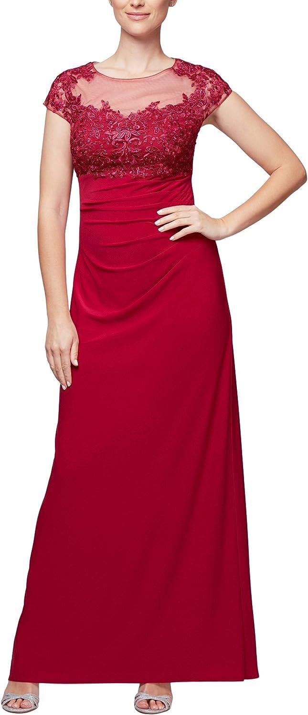 Alex Evenings Womens Standard Long Empire Waist Cap Sleeve Dress with Aline Skirt
