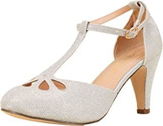 e37a03aaceed88 Chase   Chloe New Kimmy-36 Women s Teardrop Cut Out T-Strap Mid Heel