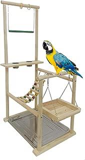 WYunPets Bird Playground,Bird Stand,Bird Platform,Feeder Cups Set Birdcage Wooden Rack Parrot Habitat Play Gym Playground Accessories Activity Center for Cone, Parakeet, Parrot, Parrot, Bird