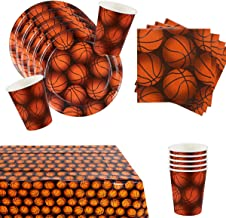 Basketball Birthday Party Supplies Tableware Set for 16 with Tablecloth