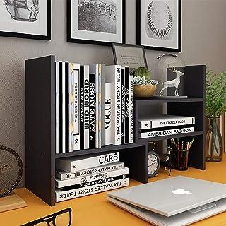 Desktop Organizer Office Storage Rack, Astory Adjustable Wood Display Bookshelf Desk Organizer Office Supplies Expandable Tabletop for Office Kitchen Multipurpose Rack, Black