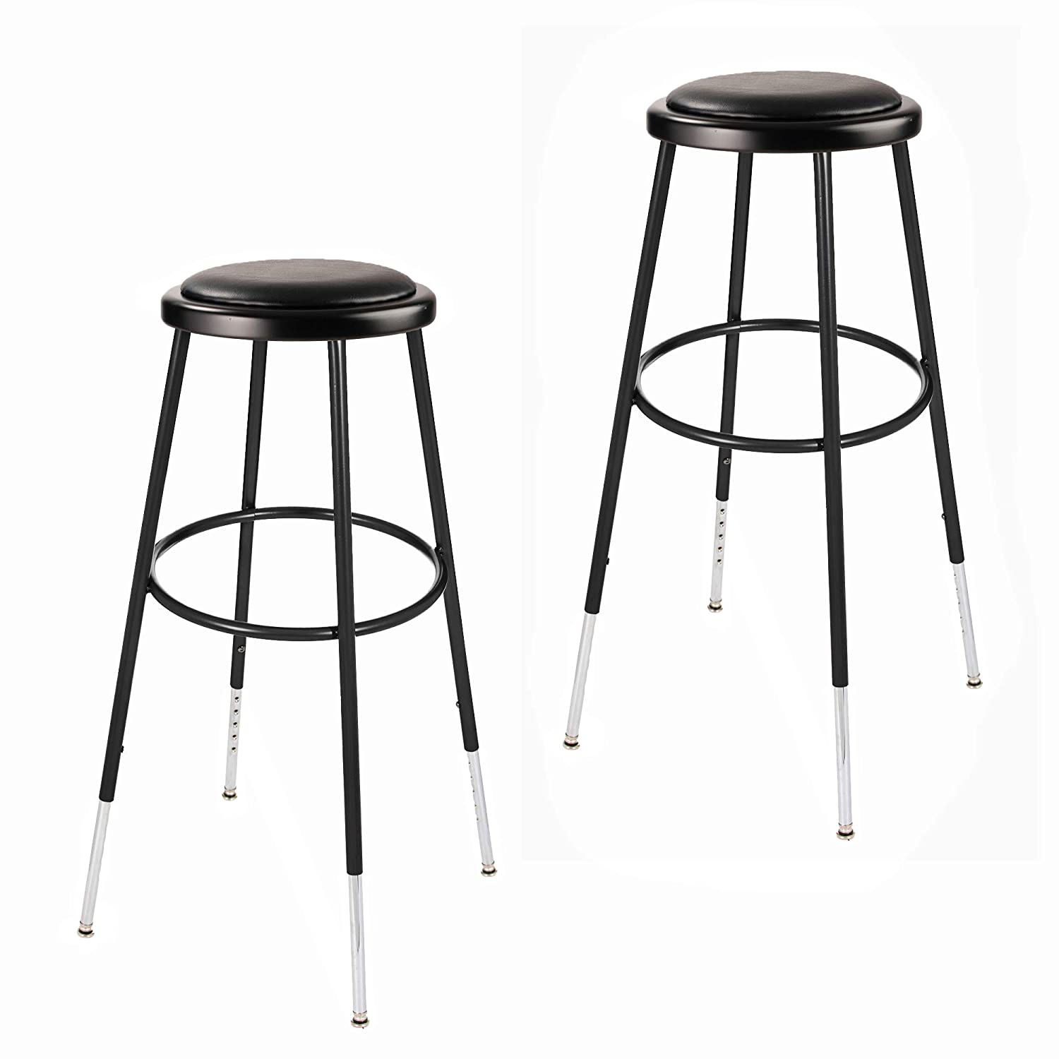 2 Pack Max 81% OFF OEF Furnishings Height Tampa Mall St Vinyl Padded Adjustable Black