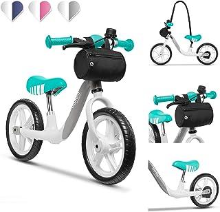 Lionelo LOE GRAPHITE Arie balanscykel barn cykel upp till 30 kg sadel och styre justerbar handbroms 30 cm Eva skumhjul met...