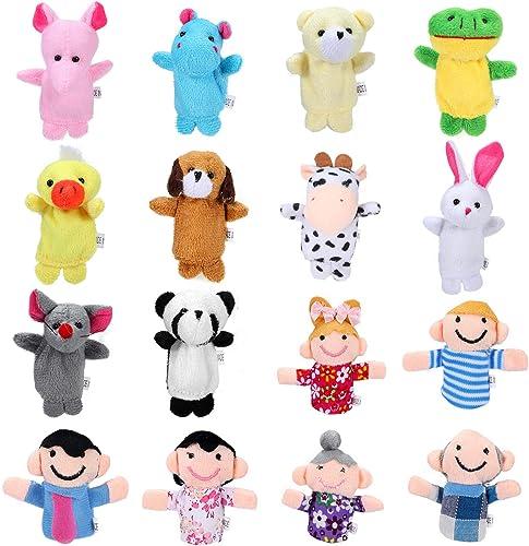 Siumir Marionnettes à Doigts Animaux et Membres de la Famille Marionnettes à Doigt 16 pcs Mini Poupées Jouets Éducati...