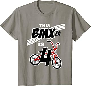 Kids 4th Birthday Boys BMX Bike Kids T-Shirt Bicycle 4 Year Old