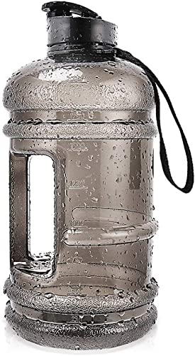 2.2L Plastic Water Bottle Large Capacity with Carrying Loop BPA Free Leakproof Jug Container Resin Fitness for Campin...