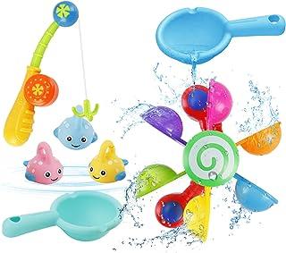 NASHRIO Baby Bath Toy, 7 Pcs Shower Bath Baby Toy Bathtub Toy, Rainbow Waterwheel Water Game and Fishing Game for 2-5 Year...