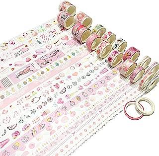 20 Rolls Cute Pink Decorative Washi Masking Tape Set for Bullet Journal DIY Decor Planner Accessories