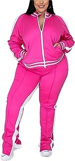 Jogging Suits for Women Casual Plus Size 2 Piece Zip Stripe Sweatshirt Sweaptpant Sweatsuits Tracksuit Sets