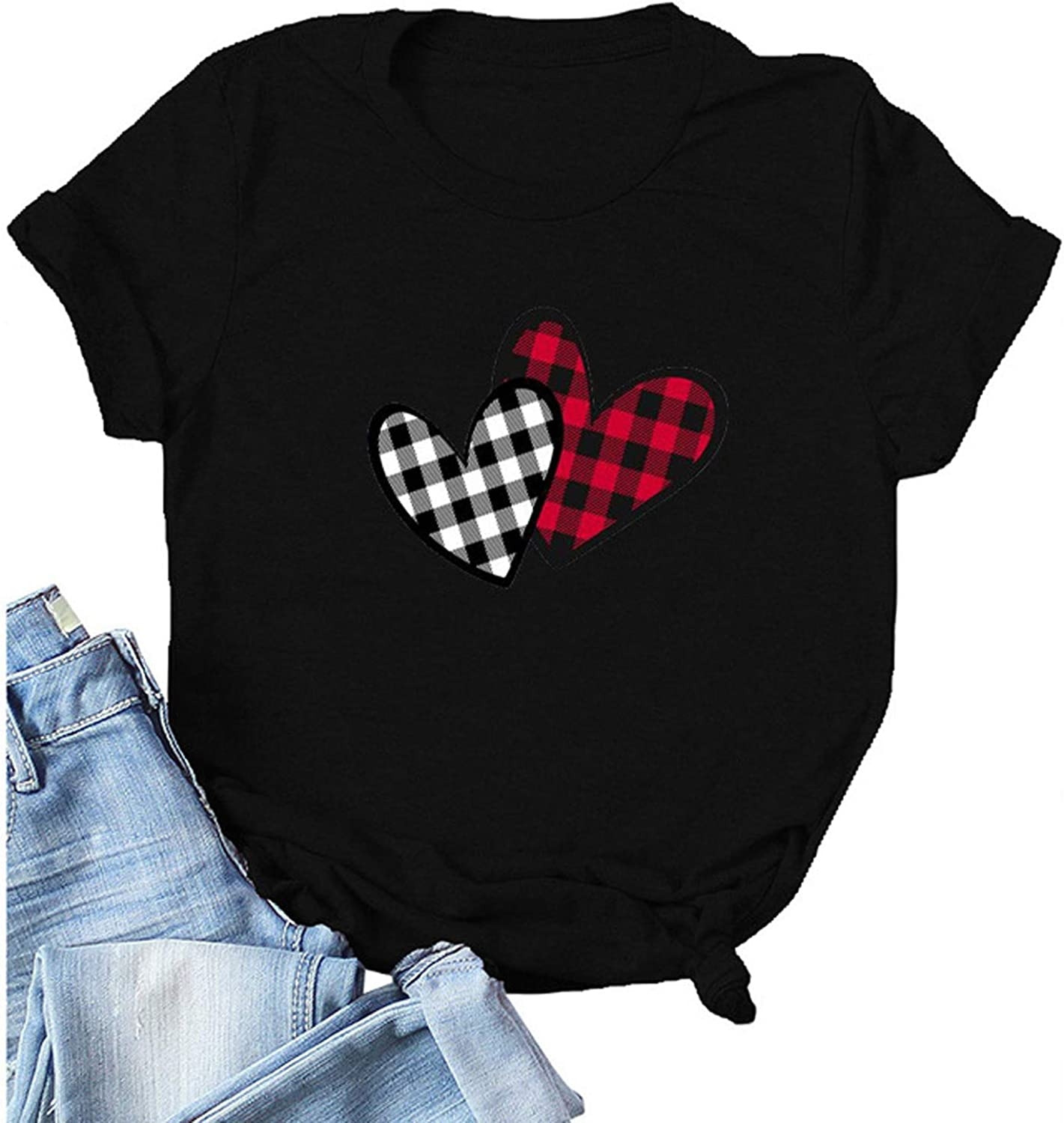 FABIURT T Shirts for Women, Womens Valentine's Day Plaid Heart Printed T-Shirt Short Sleeve Casual Loose Blouse Tee Tops