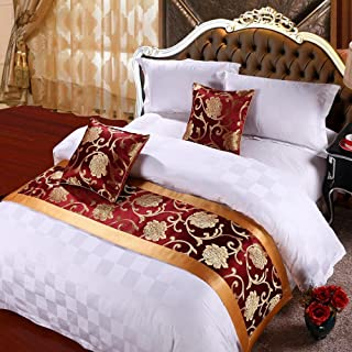 yazi Luxury Bedding Runner Cotton Decorative Bed End Scarf for Bedroom Hotel Wedding Room Peony 19.6x94.50 inch