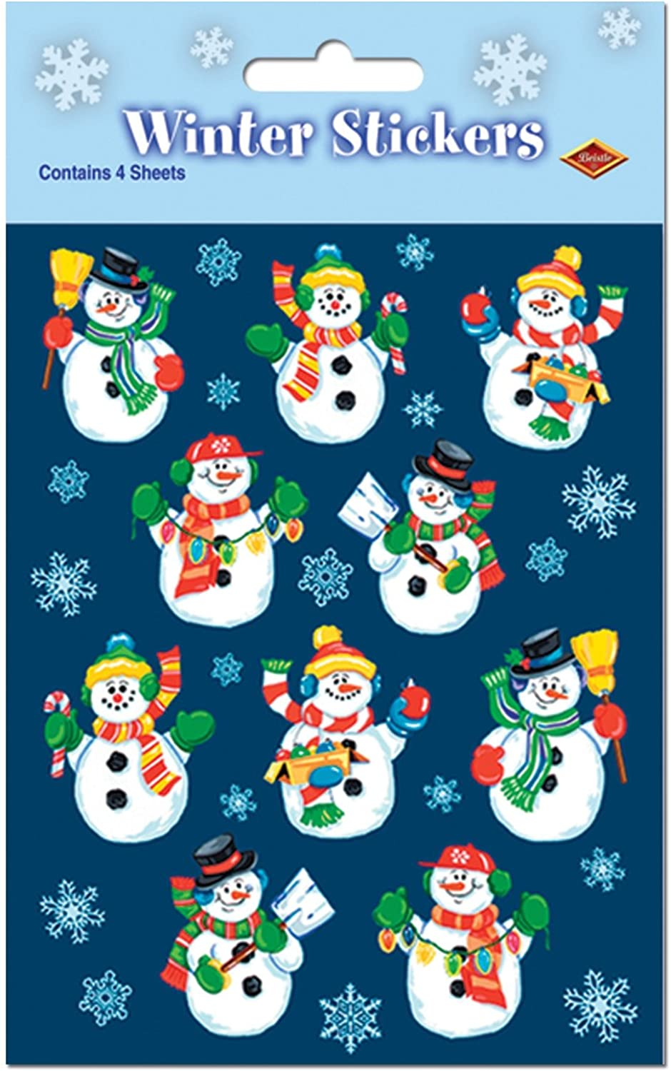 Beistle Snowman Stickers Sheet, 4-3 4-Inch by 7-1 2-Inch, 4 Sheets Per Package