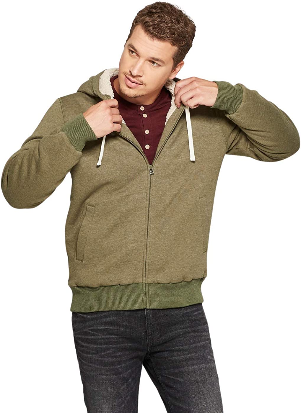 Goodfellow & Co Men's Sherpa Fleece Jacket, XL, Green