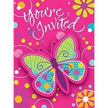 Butterfly Sparkle 8-Count Party Invitations