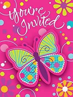 8-Count Party Invitations, Butterfly Sparkle