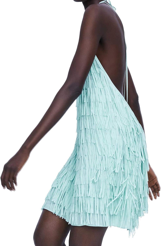 Zara 2157/224/982 Vestido Corto con Flecos para Mujer Verde ...
