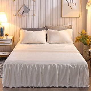 CHENFENG Bed Skirt Pom Poms Three Sides Fringe Wrap Around 18