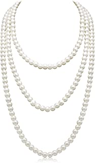 """So Pretty Long Pearl Necklaces for Women Cream White Faux Pearl Strand Layered Necklace Costume Jewelry,69"""""""