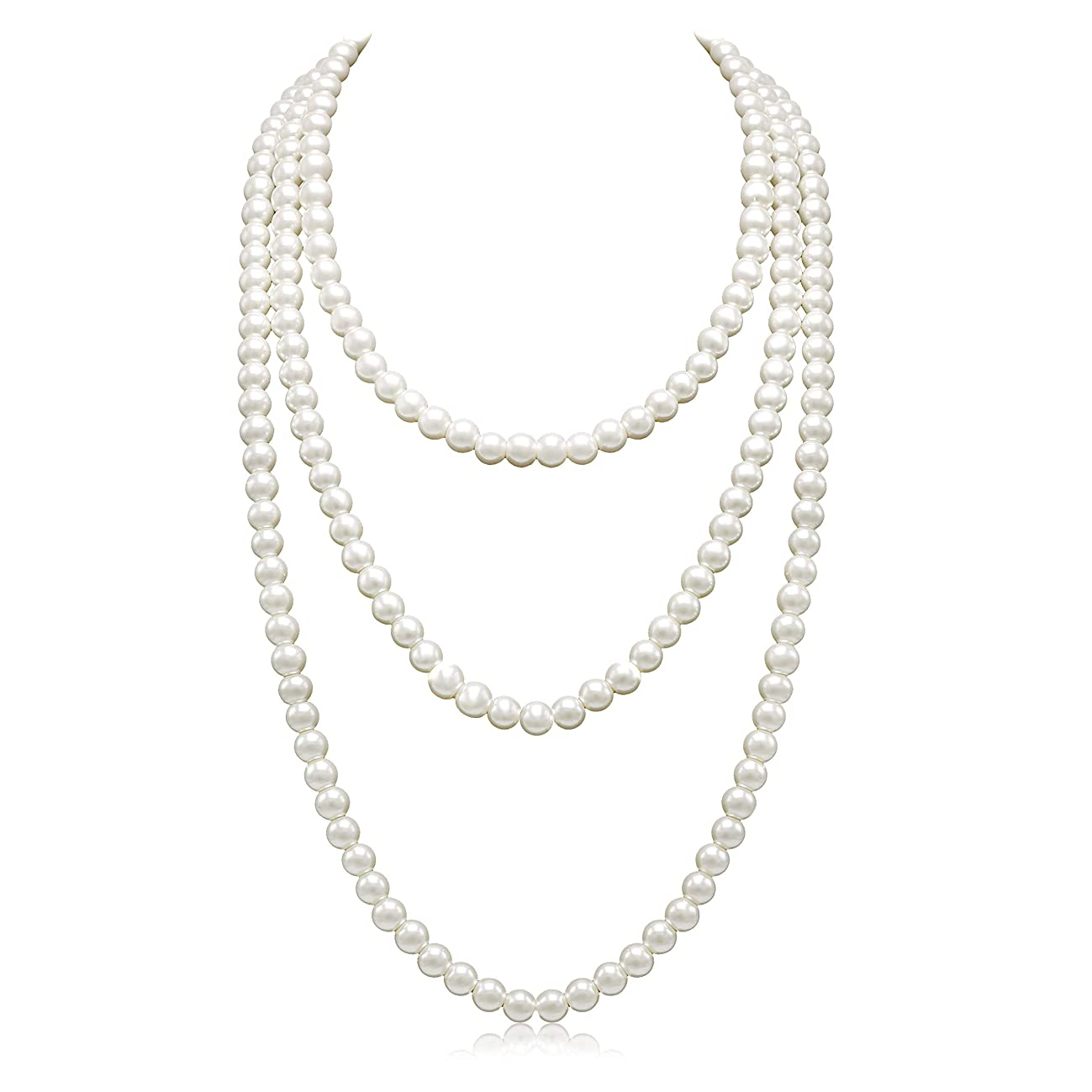 So Pretty Long Pearl Necklaces for Women Cream White Faux Pearl Strand Layered Necklace Costume Jewelry,69