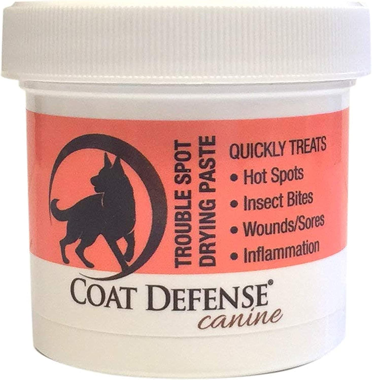Coat Defense Trouble Spot Drying Paste   Anti Fungal Anti Bacterial Dog Skin Treatment For Hot Spots, Itchy Skin, Skin Allergies, Dermatitis Inflammation, Insect Bites, Wounds And Sores   Made In USA