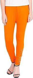 American-Elm Women's Cotton Viscose Net Legging- Orange