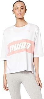 PUMA Women's Modern Sports Boyfriend TEE, White/Peach Bud
