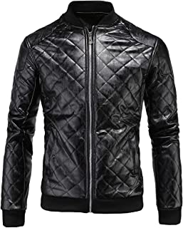 Men's Faux Leather Jacket Motorcycle Bomber Diamond Printed Embossed Stand Collar Coat