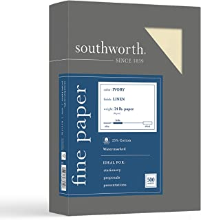 """$25 » Southworth 25% Cotton Business Paper, 8.5"""" x 11"""", 24 lb/90 gsm, Linen Finish, Ivory, 500 Sheets - Packaging May Vary (564C)"""