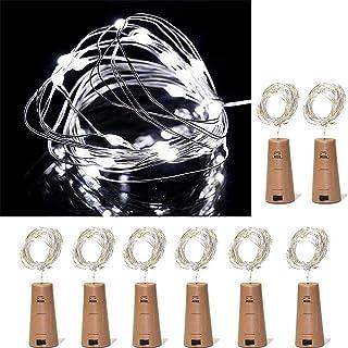 ZJDM Luces para Botellas de Vino, Paquete de 8, 10 Luces LED de Corcho con Pilas para decoración, Fiestas, Navidad, Hallow...