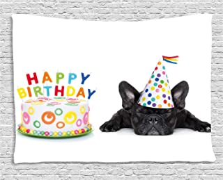 Ambesonne Birthday Party Tapestry, Sleepy French Bulldog Party Cake with Candles Cone Hat Celebration Image, Wide Wall Hanging for Bedroom Living Room Dorm, 60