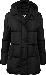 Womens Hooded Warm Winter Puffer Coat Mid Length Parka Water Resistant Jacket