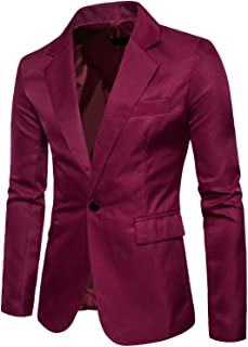 b000e3e727c Men s Long Sleeves Peak Lapel Collar One Button Slim Fit Sport Coat Blazer