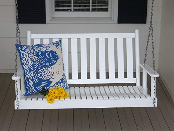 Dixie Seating Asheville Wood 4 Porch Swing No 58RTA White
