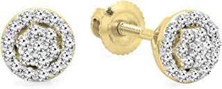 0.25 Carat (ctw) 14K Gold Round White Diamond Ladies Circle Cluster Stud Earrings