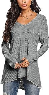YOINS Camiseta Mujer de Manga Larga Camisa con Hombros Fríos Color Sólido Cuello en V Blusa