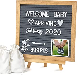 """Double Sided Felt Letter Board with Letters - 10"""" x 10"""" Rustic Wood Frame Message Board with Changeable Letter Boards Incl..."""