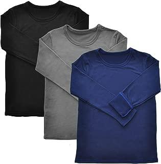 Kids Fleece Lined Crew-Neck Long Sleeves Thermal Top (3-Pack)