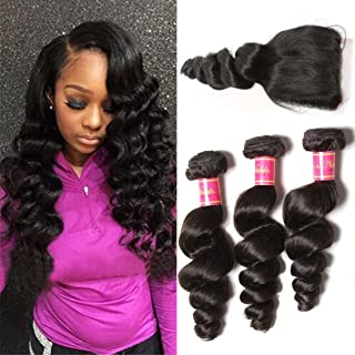 Nadula Brazilian 8a Unprocessed Loose Wave Remy Virgin Human Hair Weave Pack of 3 Hair Extensions Natural Color (14 with 16 18 20)