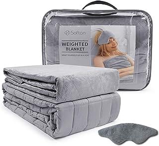softan Beschwerte Gewichtete Decke Set-TherapieDecke,Premium Cover, Schlafmaske, 150 x 200cm 6.8kg Grau