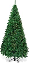 Goplus Artificial Christmas Tree Xmas Pine Tree with Solid Metal Legs Perfect for Indoor and Outdoor Holiday Decoration (Green, 7 FT)