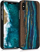 kwmobile Wood Case Compatible with Apple iPhone X - Non-Slip Natural Solid Hard Wooden Protective Cover - Watercolor Waves Blue/Brown
